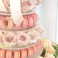 CLOSEUP ROSES MAC TOWER CAKE